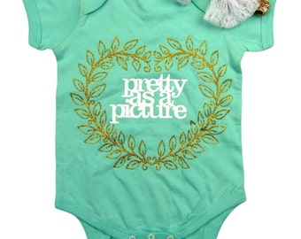 Two Piece Set Baby girl onesie, green, with Pretty as a Picture. Silver headband included.