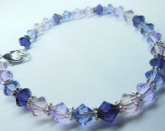 PURPLE and Pink sparkle bracelet, pink crystals, pink and purple crystals