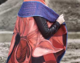 Hand-painted elegance poncho with lace trim / cloak / Cape / poncho