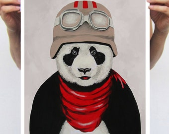 Panda Painting, Panda Poster, Panda print from original painting by Coco de Paris: Panda Pilot