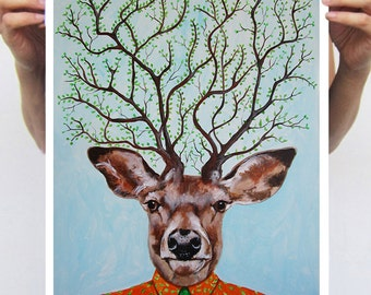 Woodland Deer Print, Antlers, Stag Print, print from original painting by Coco de Paris: Deer Tree