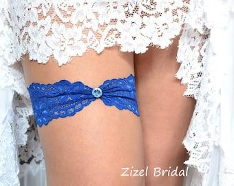 Wedding Garter, Blue Wedding Garter, Bridal Garter, Rhinestone Garter, Lace Blue Garter, Something Blue,Toss Garter, Blue lace Garter