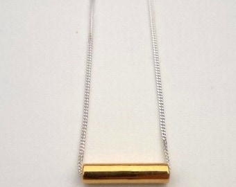 Minimalist Delicate Simple Tube Sterling Silver And Gold Plate Pendant Necklace
