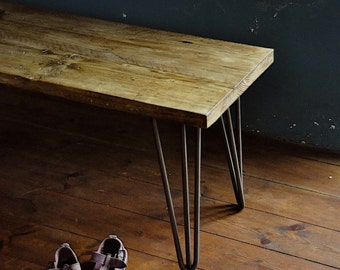 Reclaimed Wood Bench Industrial Rustic Vintage Scaffold Wood Bench Rustic Scaffold Board Furniture Hairpin legs Bespoke Bench