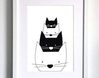 Black and White, Cats, Art for Children, Kids Wall Art, Nursery Art, Kids Playroom Art Print, Nursery Poster, Scandinavian Style Poster