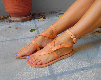Ankle Strap Greek Sandals ''Nephele'', Thong Leather Sandals, Greek Strappy Sandals