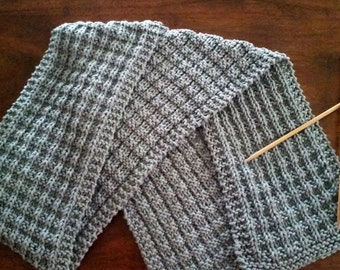 Handmade Waffle Stitch Knit Scarf