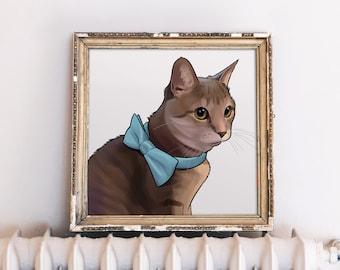 Custom Cat Painting, Digital Cat Painting, Digital Cat Portrait, Cat Mom, Cat Mom Gift, Cat Printable