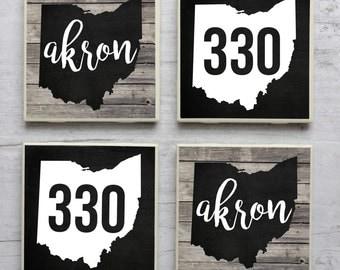Akron Coasters, Ohio Coasters, Akron Decor, Akron Ohio, Rubber City, 330, Akron Coaster, Ohio Coaster, Tile Coasters, Ohio Decor, Akron