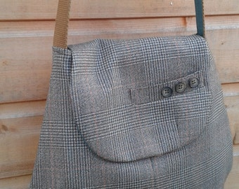 Handbag, shoulder bag, recycled men's suit, tweed, wool bag