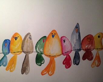 Original Watercolour - Bird on the wire