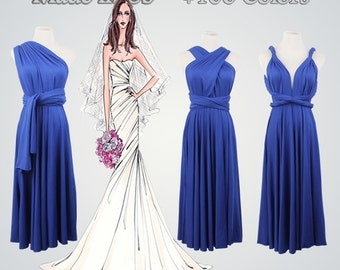 Infinity Dresses,Blue Dress,Short Infinity Dress,Multiway Dress,Blue Infinity Dresses,Wrap Convertible Infinity Dress