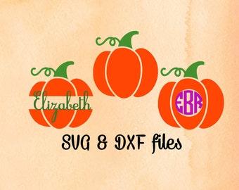 Pumpkin Monogram SVG, Pumpkin SVG, Halloween Cut File, Split Halloween Monogram, DXF File For Silhouette, Thanksgiving svg, Instant Download