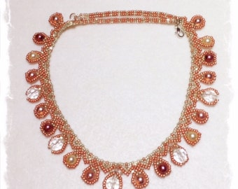Pearl and Glass Droplets Necklace- Japanese Seed Beads and Swarovski Pearls