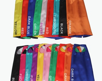 15 Capes - KID CAPE, Personalized Reversible Cape, Super Hero Cape bulk, solid cape, kids birthday, gift idea, kids party favors - 25 Colors