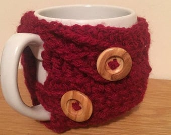 Red Hand Crochet Mug Cosy with Wooden Buttons