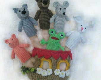 Finger puppets crochet hand house,playing in the theater, entertainment  (Пальчиковый театр Теремок)