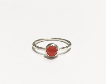 Natural Rose Cut Carnelian Silver Stacker Ring - In Stock - solid 925 sterling silver, Handmade in Australia, Ring size: US 8 UK P