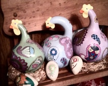 Gourd craft Paisley chickens with eggs