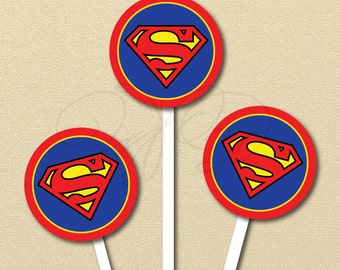 Superman Cupcake Toppers,  Superhero Birthday Party, super hero, Superman Stickers, 2 inch circles, labels,  Boy Birthday Party, super man