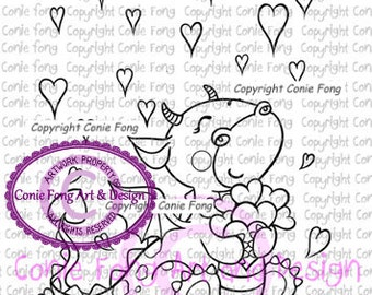 Digital Stamp, Digi Stamp, Digistamp, Tori the Dragon-Raining Hearts by Conie Fong, valentines, love, dragon, coloring page, heart