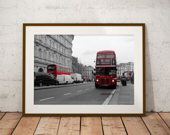 Double-decker bus, London - black & white and color - poster