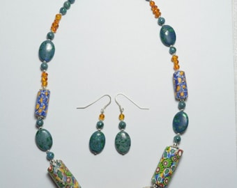 Antique African Amber and trade beads necklace and earring set