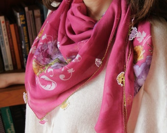 Spring floral pink scarf, Lightweight traditional scarf, Authentic handmade boho chic shawl, Oya yemeni yazma,Mothers day gift,Gifts for her