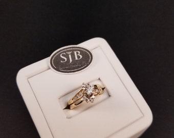 Diamond Wedding Rings, 14k Gold & Diamond Wedding Set, 14k Yellow Gold Diamond Wedding Set, 14k Vintage Diamond Wedding Rings #SD369, Sz4.5