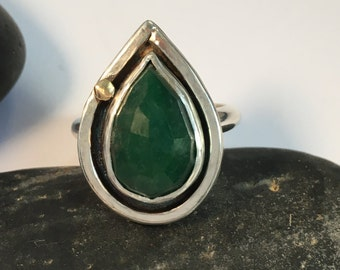 Emerald Ring with Brass Accent