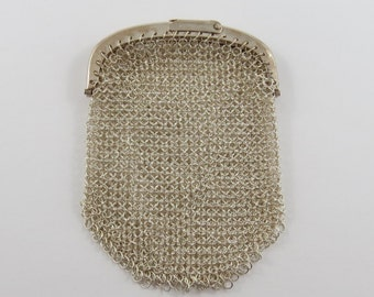 Silver Chain Mesh Purse With Two Sections and a Flip Down Style Clasp