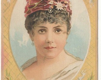 1880s Singer Sewing Machines Trade Card : Opera Singer Marie Roze