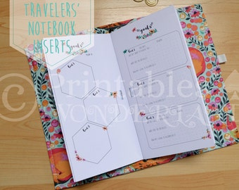 Floral TN goal tracker inserts printable - Travelers' notebook inserts instant download