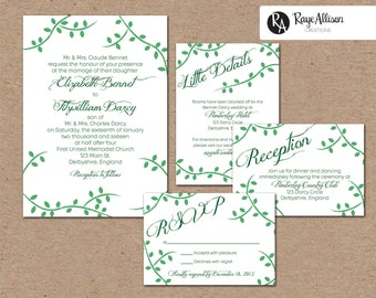 Vines Suite - Printable wedding invitations - personalized wedding invitation set