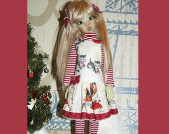 Christmas kitty dress By 2snsb fits Kaye Wiggs MSD size such as Thalessa, MIKI, Layla