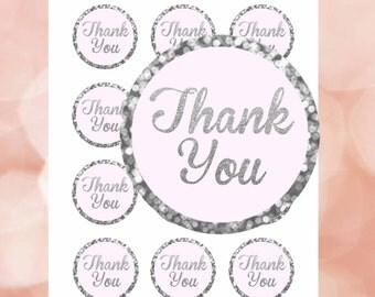 """Thank You Tags Pink and Silver, Pink and Silver bokeh, Thank you Stickers 2"""",Pink and Silver labels, Thank You favor tags,  Digital File."""
