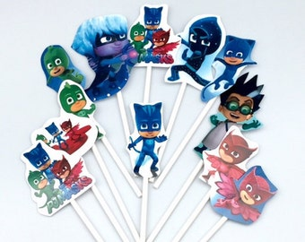 PJ Masks cupcake toppers (12) Birthday party supplies.