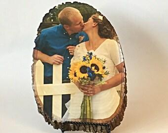 Custom Wedding Gift Personalized Wood Photo 5th anniversary Wedding Gift Fifth Anniversary Gift Engagement Gift, couples gift rustic wedding
