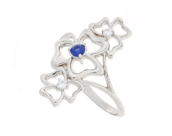 Sapphire ring, Diamond ring, White gold ring, Blue sapphire ring, Flower ring, Statement irng, Long ring, Gold sapphire ring
