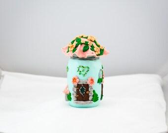 Fairy Garden Home, Fairy House, Polymer Clay Fairy Home decorated in Aqua and Peach , Jar Fairy Home , Faerie Decor