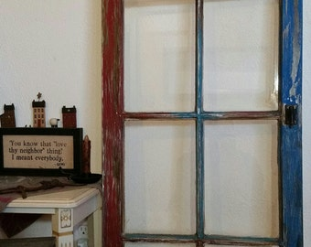 Distressed wooden window