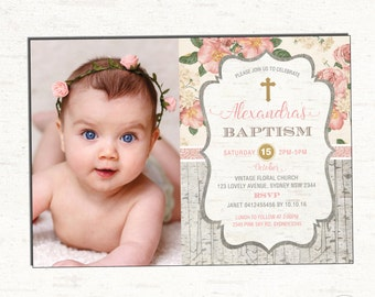 Pink and Gold Baptism Invitation Bohemian Floral Christening