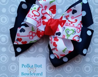 Navy Coral Red Key to my Heart Hair Bow