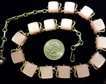 Vintage Coro signed pink thermoset necklace choker
