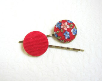 Red hair pins, Button hair pins, Floral hair pin, Red barrettes, Teen girls hair pins, Floral hair pins, Pinup Girl hair accessories