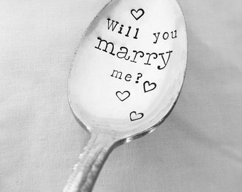 Will You Marry Me Spoon w/ Hearts, Hand Stamped Spoon, Engagement, Proposal, Vintage, Silverplate, Coffee, Marry Me, Propose, Girlfriend