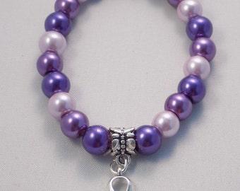 Handmade purple All cancer awareness hope small 7 inch stretchy bracelet