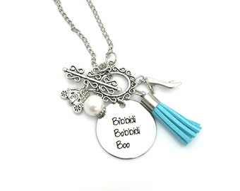 "Bibbidi Bobbidi Boo Cinderella Inspired Glass Beaded Tassel Charm 26"" Chain Necklace Silver Tone"