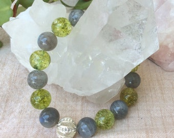 Green Quartz Labradorite bracelet