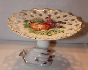 Fruit Tray with hand painted hand pedestal Hand Pointed Betson